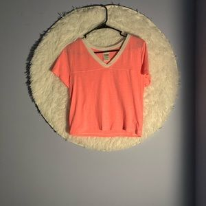 Victoria Secret Pink Cropped v-neck ringer tee